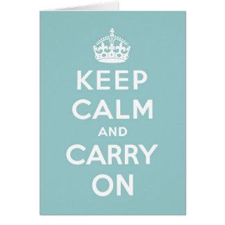 Cartes Maintenez calme et continuez le bleu d'oeufs de