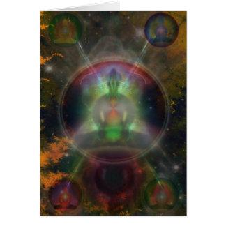 Cartes Mandala de cinq Bouddha