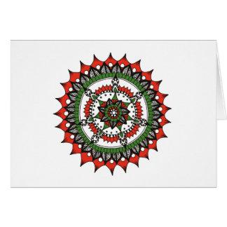 Cartes Mandala, rouge, vert et noir de vacances