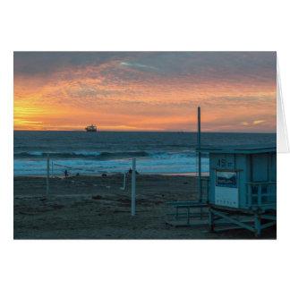 Cartes Manhattan Beach au coucher du soleil de plage d'EL