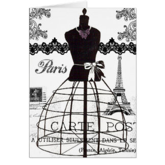 Cartes Mannequin blanc noir de mode de Paris