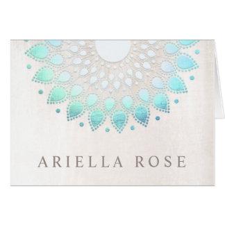 Cartes Marbre floral élégant de blanc de Lotus de bleu de