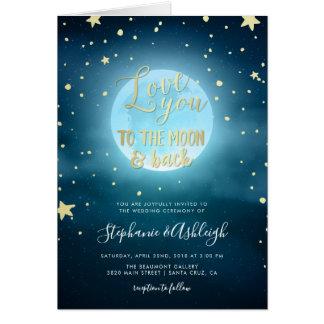 Cartes Mariage étoilé de ciel nocturne de calligraphie de