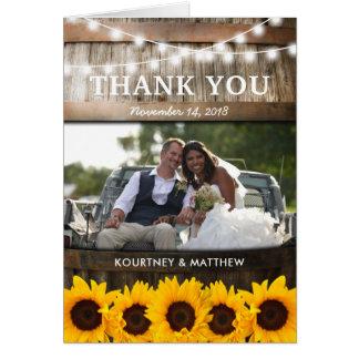 Cartes Mariage rustique de tournesol du Merci | de pays