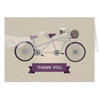 Cartes Mariage tandem de bicyclette de prune de toile de