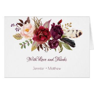 Cartes Marsala, Bourgogne, rouge, Merci de Boho de roses
