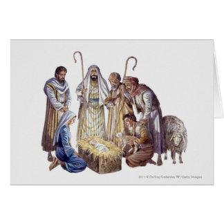Cartes Mary, Joseph, et bergers entourant le bébé Jésus
