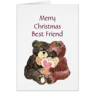 Cartes Meilleur ami de Joyeux Noël, étreintes d'ours de