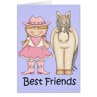 Cartes Meilleurs amis - cow-girl et cheval blonds
