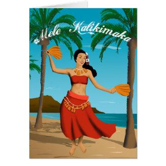 Cartes Mele vintage hawaïen Kalikimaka personnalisable