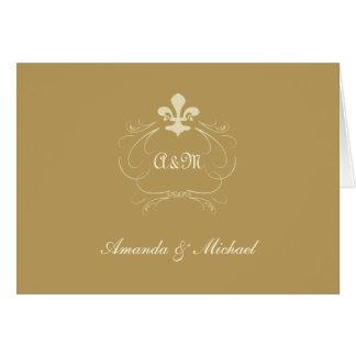 Cartes Merci antique de Wedding Fleur de Lis d'or