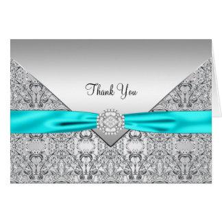 Cartes Merci argenté bleu turquoise élégant
