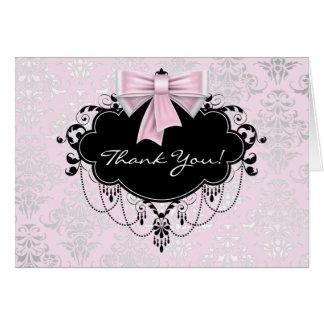 Cartes Merci assez rose de damassé