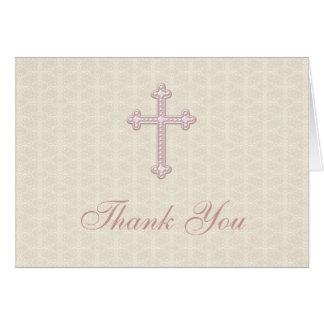 Cartes Merci beige de croix de rose de damassé