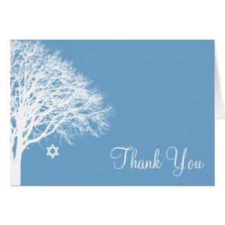 Cartes Merci blanc bleu de bat mitzvah de chêne d'hiver