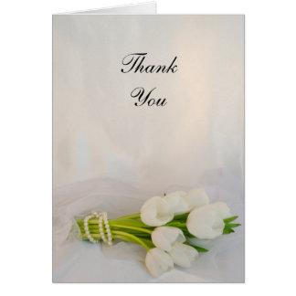 Cartes Merci blanc de mariage de ressort de bouquet de