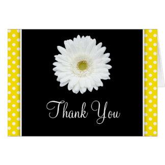 Cartes Merci blanc de point de polka de jaune de