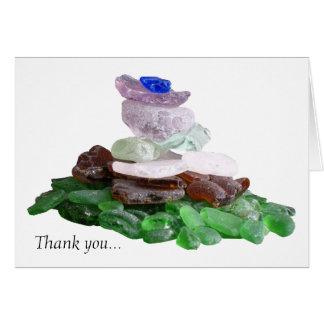 Cartes Merci blanc en verre de mer simple