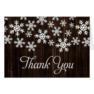 Cartes Merci blanc rustique de flocon de neige de Wook