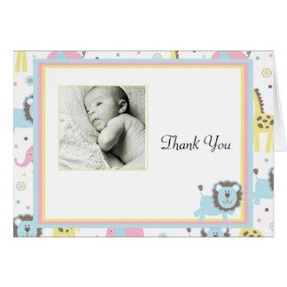 Cartes Merci bleu de lion d'animaux de bébé
