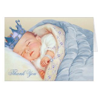 Cartes Merci bleu de prince baby shower d'or