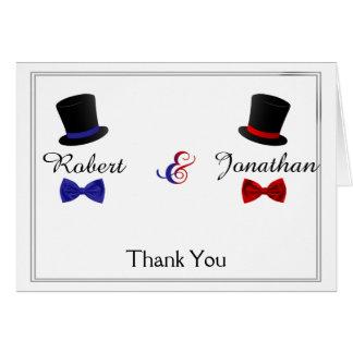 Cartes Merci bleu rouge gai de mariage de cravates d'arc