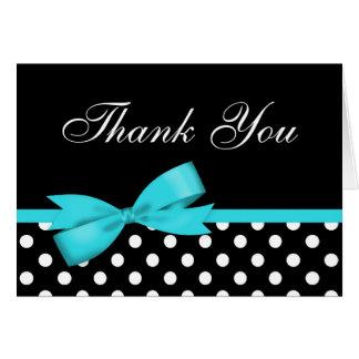 Cartes Merci bleu turquoise de pois de noir d'arc
