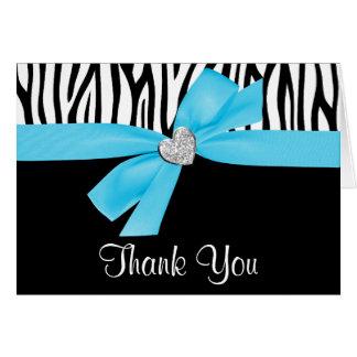 Cartes Merci bleu turquoise de zèbre de coeur de diamant