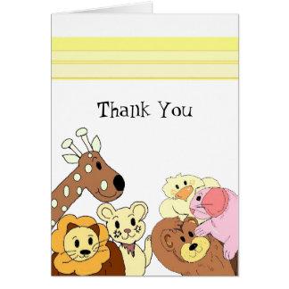 Cartes Merci d'animal de zoo