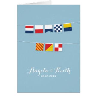 Cartes MERCI dans les drapeaux nautiques colorés