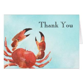 Cartes Merci d'aquarelle de crabe de fruits de mer