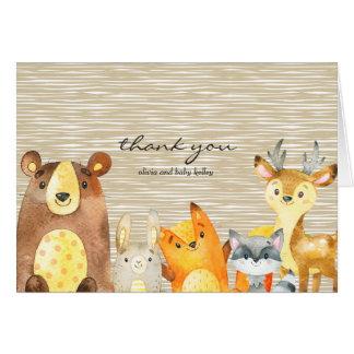 Cartes Merci de baby shower d'animaux de région boisée