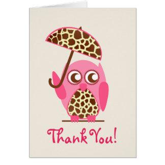Cartes Merci de baby shower de hibou d'impression de