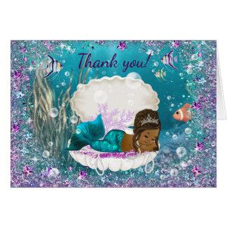 Cartes Merci de baby shower de sirène d'Afro-américain