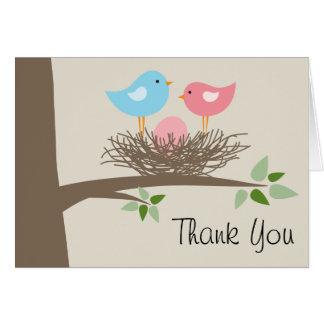 Cartes Merci de bébé d'oiseau des oeufs roses et du nid