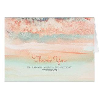 Cartes Merci de biais de mariage de plage d'aquarelle