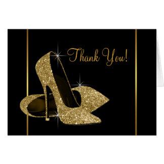 Cartes Merci de chaussure de talon haut de noir et d'or