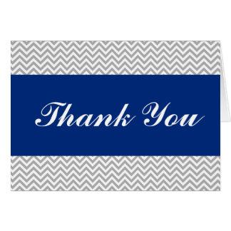 Cartes Merci de Chevron de bleu marine et de gris