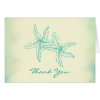 Cartes Merci de couples d'étoiles de mer d'océan de plage
