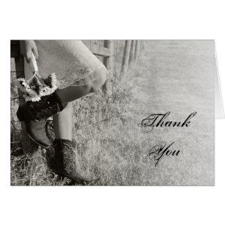 Cartes Merci de cow-girl et de mariage campagnard de