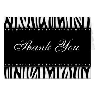 Cartes Merci de diamants imprimé par zèbre noir et blanc