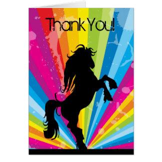 Cartes Merci de élevage de cheval de silhouette de techno