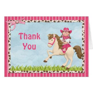 Cartes Merci de fête d'anniversaire de cheval de cow-girl