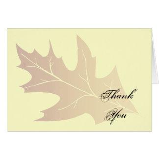 Cartes Merci de feuille de chêne d'automne