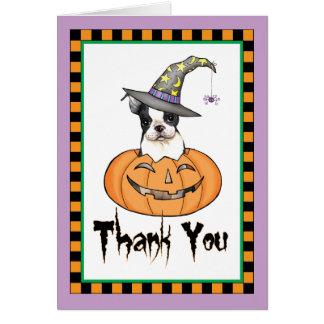 Cartes Merci de Halloween Boston Terrier