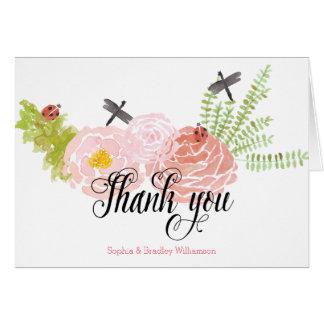 Cartes Merci de jardin d'aquarelle de roses de libellules