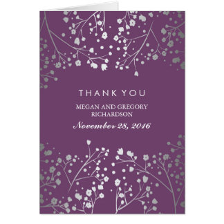 Cartes Merci de mariage d'améthyste de Silverand du