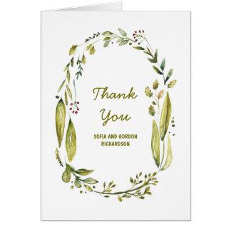 Cartes Merci de mariage d'aquarelle de région boisée de