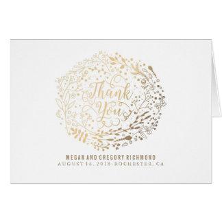 Cartes Merci de mariage de bouquet floral de feuille d'or