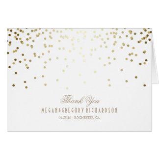 Cartes Merci de mariage de confettis de blanc et d'or
